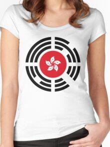Korean Hong Kong Multinational Patriot Flag Series Women's Fitted Scoop T-Shirt