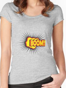 BOOM!! Pop Art Graphic Women's Fitted Scoop T-Shirt