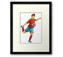 Portugal player kick the ball in euro cup Framed Print