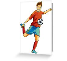 Portugal player kick the ball in euro cup Greeting Card