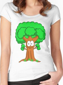 Funny Cartoon Tree Women's Fitted Scoop T-Shirt