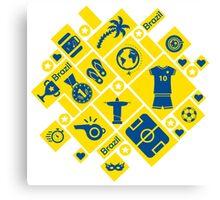 Brazil football icons Canvas Print