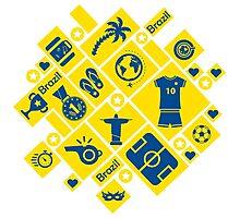 Brazil football icons Photographic Print