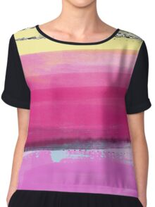 Watercolor Abstract Layers Version1 Pink Vivid Chiffon Top