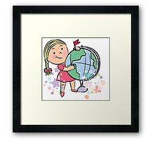 Sports girl globe cartoon Framed Print
