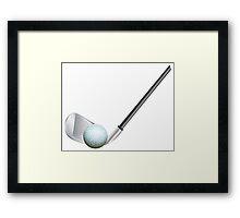 Golf stick and ball Framed Print