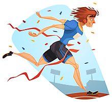 Funny cartoon athletics sporting design Photographic Print