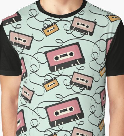Press Play - Cassette Tape Pattern Graphic T-Shirt