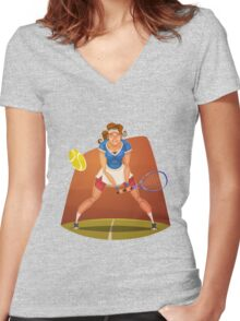 Funny cartoon tennis sporting design Women's Fitted V-Neck T-Shirt