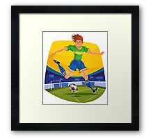 Funny cartoon football sporting design Framed Print