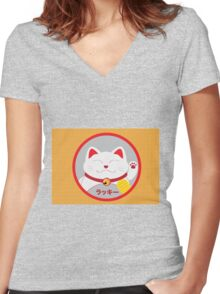 Lucky cat Women's Fitted V-Neck T-Shirt