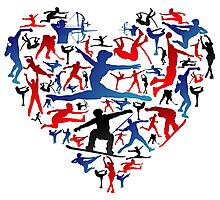 Athletic player made heart in Olympic Photographic Print