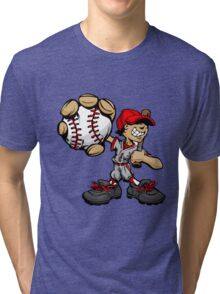 Funny cartoon baseball player Tri-blend T-Shirt