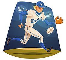 Funny cartoon baseball sporting design Photographic Print