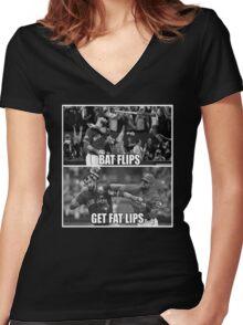 Bat Flips Get Fat Lips Women's Fitted V-Neck T-Shirt