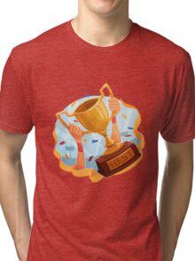 Funny cartoon sporting trophy design Tri-blend T-Shirt