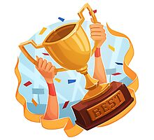 Funny cartoon sporting trophy design Photographic Print