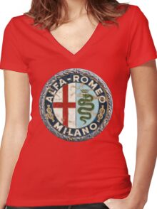 ALFA ROMEO RETRO BADGE Women's Fitted V-Neck T-Shirt