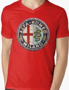 ALFA ROMEO RETRO BADGE Mens V-Neck T-Shirt