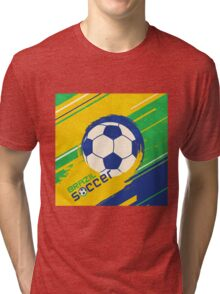 Brazil soccer world cup background Tri-blend T-Shirt