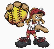 Funny cartoon baseball player Kids Tee