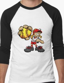 Funny cartoon baseball player Men's Baseball ¾ T-Shirt