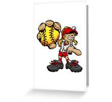Funny cartoon baseball player Greeting Card