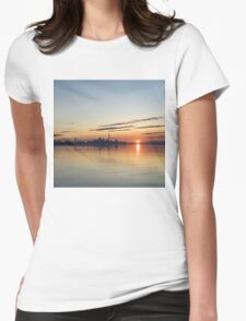 Half a Sunrise - Toronto Skyline From Across Silky Calm Lake Ontario Womens Fitted T-Shirt