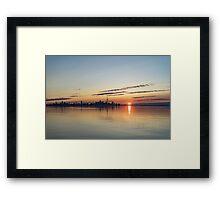 Half a Sunrise - Toronto Skyline From Across Silky Calm Lake Ontario Framed Print
