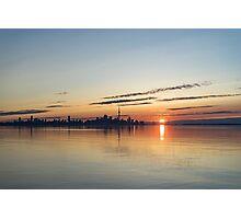 Half a Sunrise - Toronto Skyline From Across Silky Calm Lake Ontario Photographic Print
