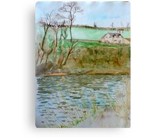 Watercolour River View (Hay on Wye) Canvas Print