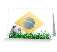 Soccer ball on grass field Greeting Card