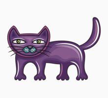 Cartoon purple cat Kids Tee
