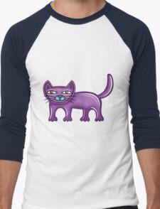 Cartoon purple cat Men's Baseball ¾ T-Shirt