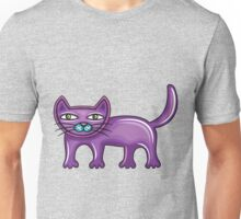 Cartoon purple cat Unisex T-Shirt
