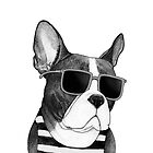 Frenchie Summer Style b&w by barruf