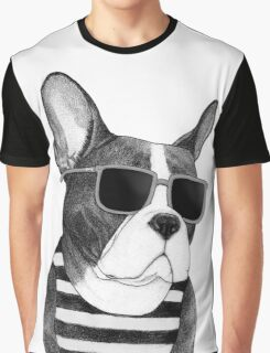 Frenchie Summer Style b&w Graphic T-Shirt