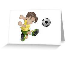 Brazil boy kicking the football flag background Greeting Card