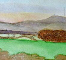 Watercolour View Towards Winter Hill Sticker