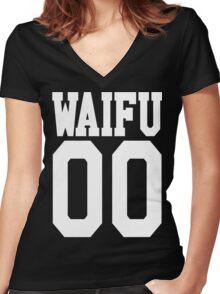 WAIFU 00 JERSEY Women's Fitted V-Neck T-Shirt