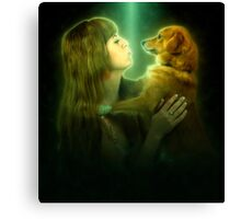 Digitally enhanced image of Human and Dog face to face  Canvas Print