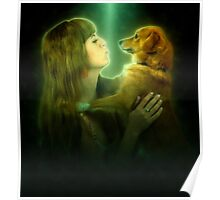 Digitally enhanced image of Human and Dog face to face  Poster