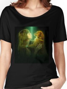 Digitally enhanced image of Human and Dog face to face  Women's Relaxed Fit T-Shirt