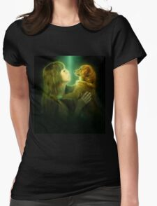 Digitally enhanced image of Human and Dog face to face  Womens Fitted T-Shirt