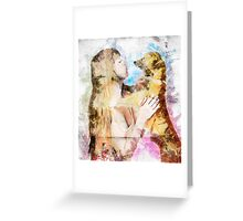 Digitally enhanced image of Human and Dog face to face  Greeting Card