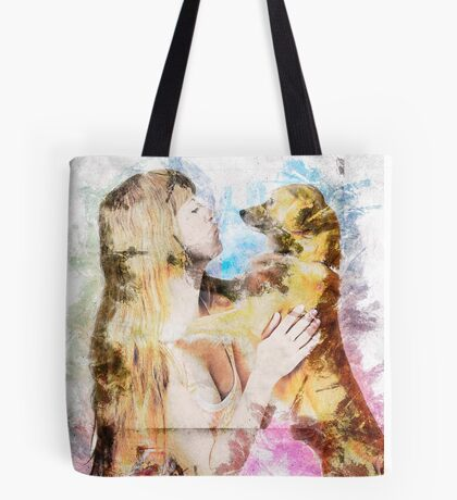Digitally enhanced image of Human and Dog face to face  Tote Bag
