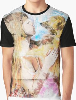 Digitally enhanced image of Human and Dog face to face  Graphic T-Shirt