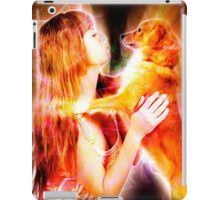 Digitally enhanced image of Human and Dog face to face  iPad Case/Skin