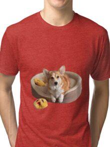 Corgi on his bed Tri-blend T-Shirt