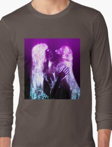 Digitally enhanced image of Human and Dog face to face  Long Sleeve T-Shirt